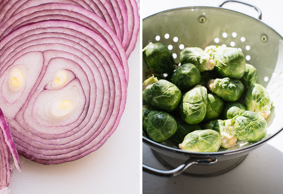 red onion and brussels sprouts