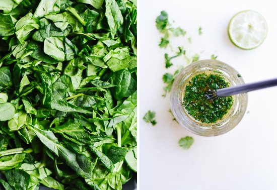 spinach and cilantro vinaigrette