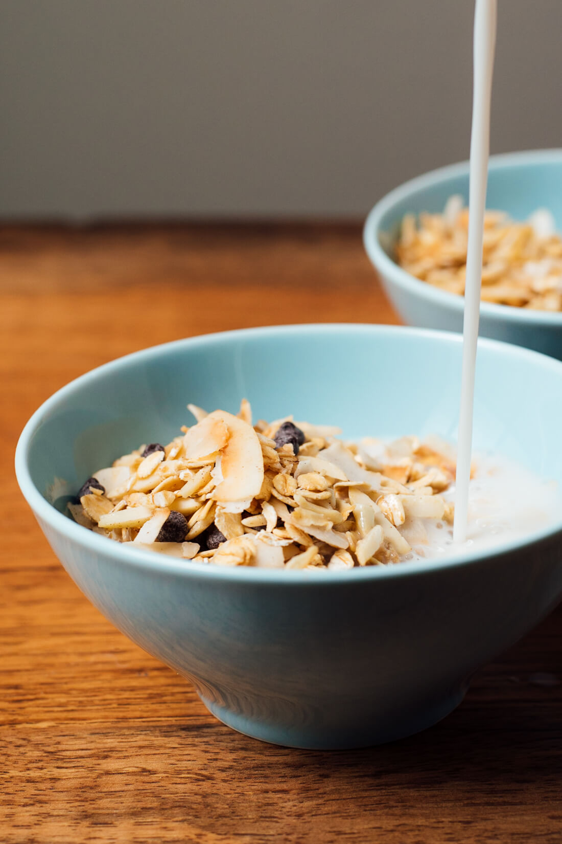 Toasted muesli with almonds, coconut and chocolate