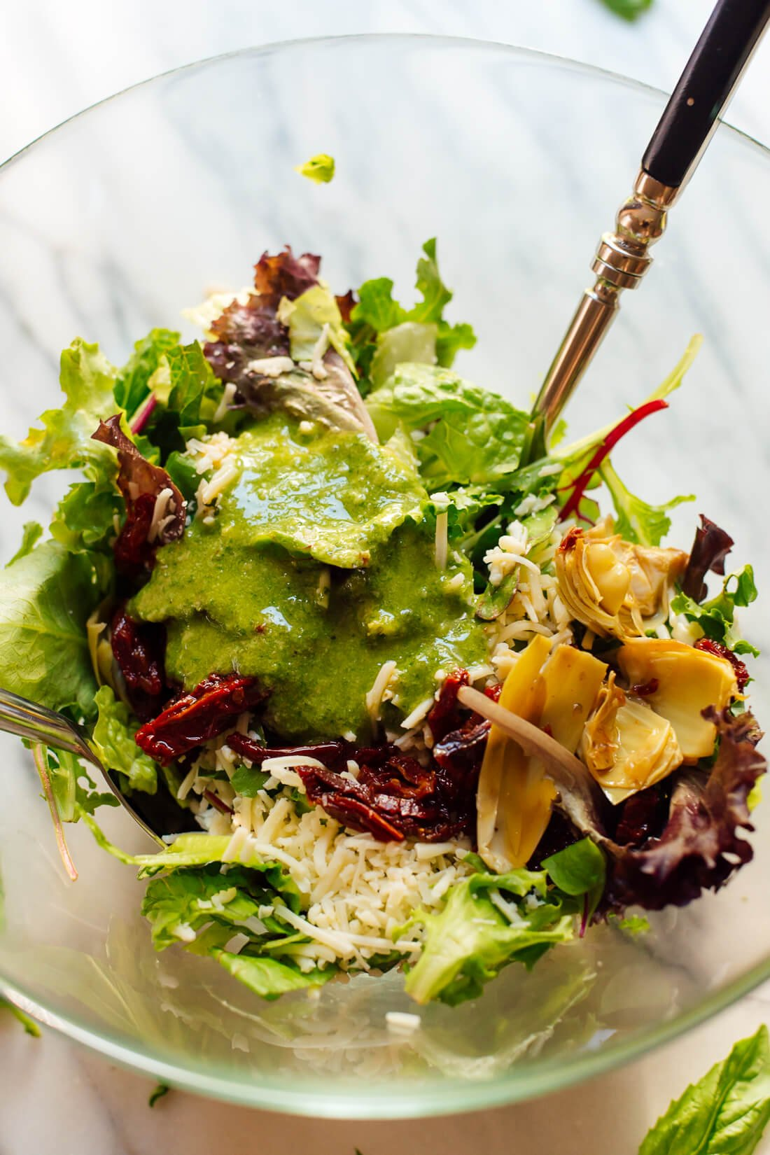 Basil Pesto Vinaigrette on salad
