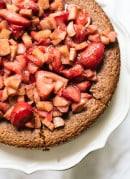 Almond Cake with Roasted Strawberries & Rhubarb on Top