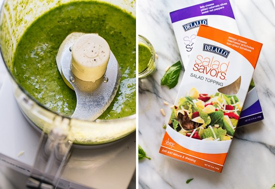 Basil pesto vinaigrette and Salad Savors
