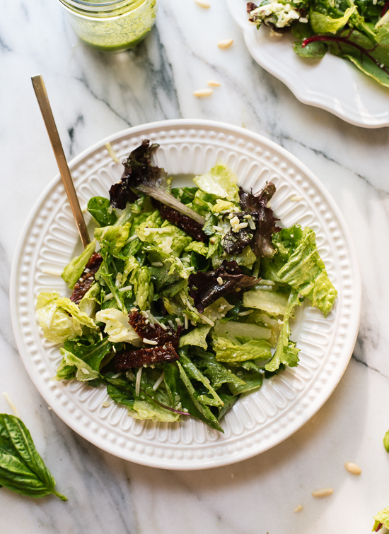 Green salad with basil vinaigrette - cookieandkate.com