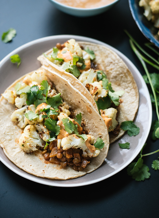 Cauliflower tacos with chipotle sauce - cookieandkate.com