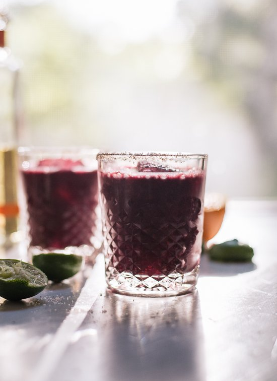 Frozen blueberry margaritas made with all natural ingredients! - cookieandkate.com