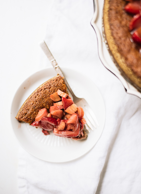 Gluten-free strawberry rhubarb cake - cookieandkate.com