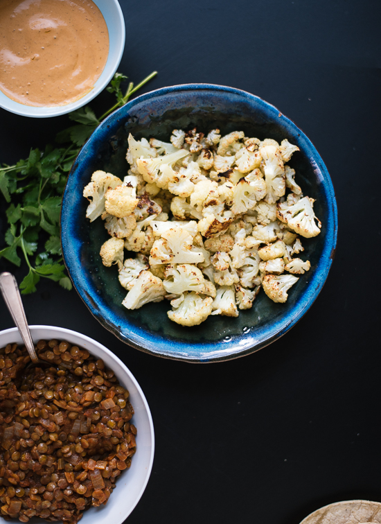 Roasted cauliflower and lentil tacos ingredients - cookieandkate.com