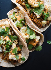 Roasted cauliflower and lentil tacos recipe - cookieandkate.com