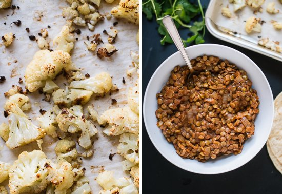 Roasted cauliflower and seasoned lentils - cookieandkate.com