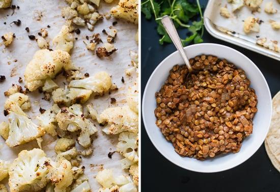 Roasted cauliflower and seasoned lentils - cookieandkate.com