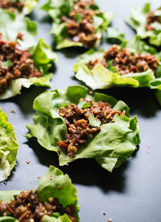 Vegetarian lettuce wraps with Asian influences. Make them for your next party! cookieandkate.com