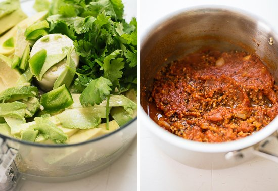 avocado sauce and quinoa