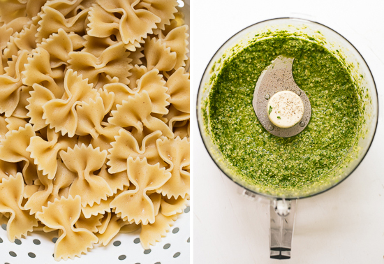 bow-tie pasta and pesto