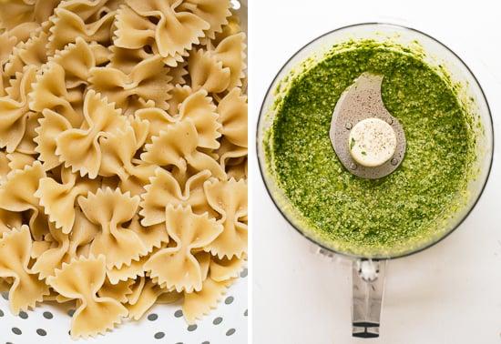 bow-tie pasta and pesto