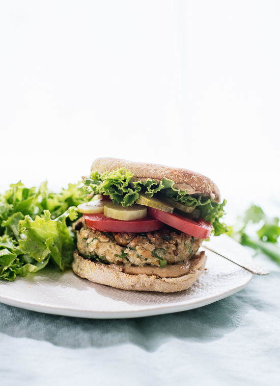 Falafel veggie burgers, lightened up with cauliflower for the perfect texture! cookieandkate.com