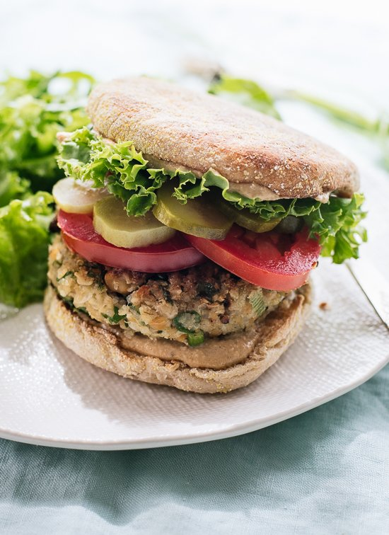 Healthy falafel veggie burgers, so good! cookieandkate.com