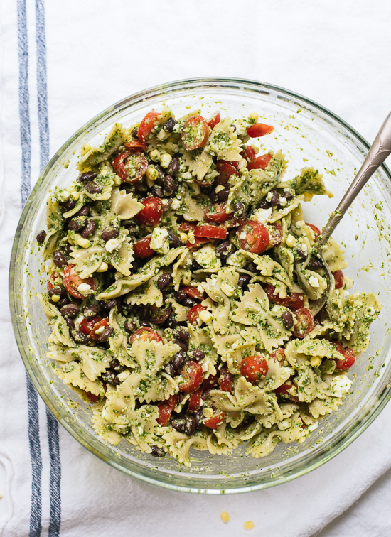 Summer pasta salad with corn tomatoes and black beans - cookieandkate.com