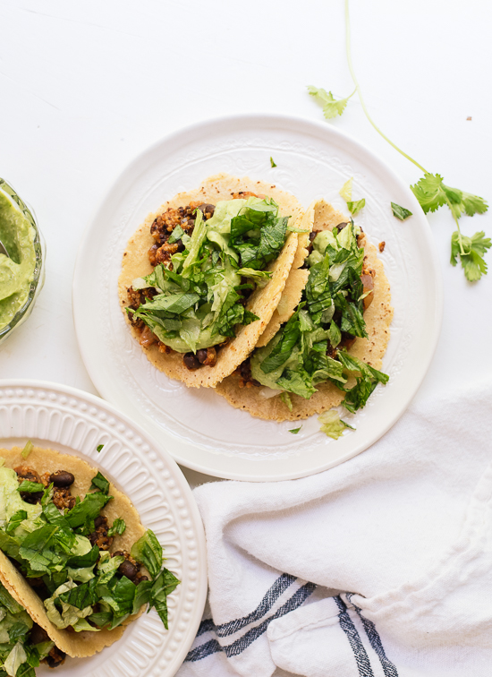 Quinoa black bean tacos, a healthy and delicious dinner! cookieandkate.com