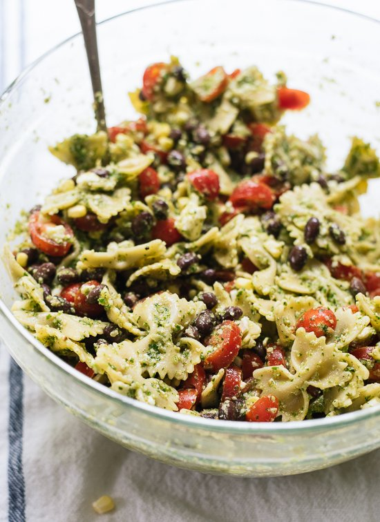 Healthy Summer Pasta Salad With Tomatoes Corn Black Beans And A Bold Herbed Pesto