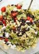 Summertime Pasta Salad with Tomatoes, Corn and Jalapeño Pesto