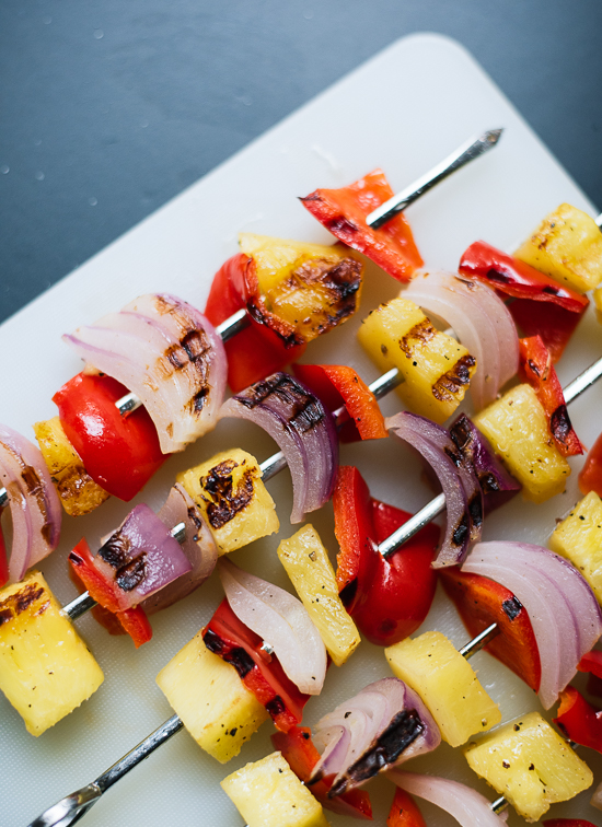 Pineapple, red bell pepper and red onion skewers - cookieandkate.com