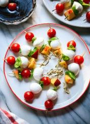Simple caprese skewers recipe, perfect for summer parties!