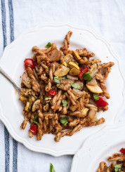 Easy, homemade sun-dried tomato pesto pasta with roasted vegetables! cookieandkate.com