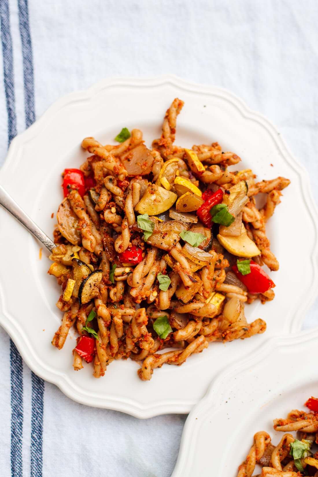 Sun-dried tomato pesto pasta with roasted vegetables
