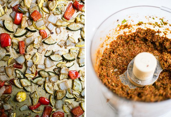 sun-dried tomato pesto with roasted veggies