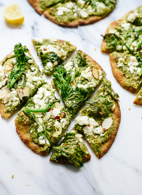 Broccoli rabe naan, a simple appetizer or dinner! cookieandkate.com