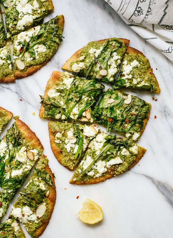 Broccoli rabe naan, a simple dinner or appetizer! cookieandkate.com