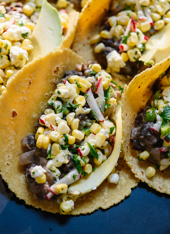 Spicy and sweet corn and black bean tacos - cookieandkate.com