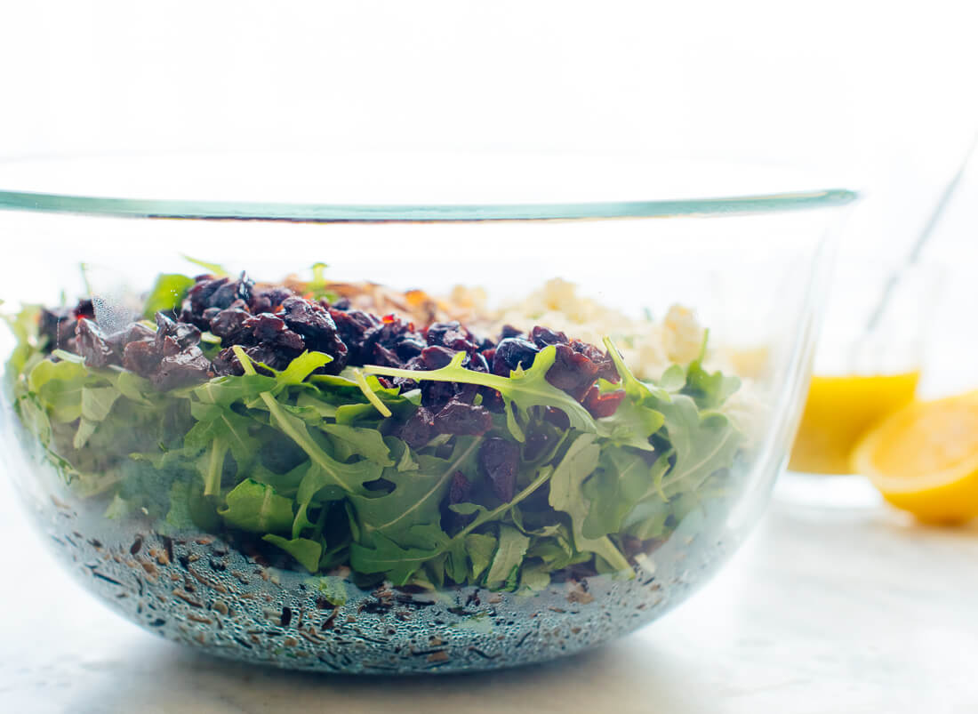 how to make arugula wild rice salad