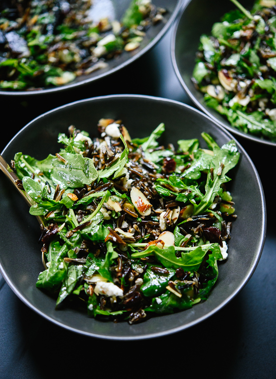 Wild rice and arugula salad with zippy lemon dressing