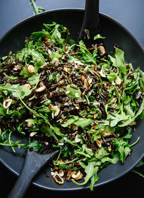 Arugula and wild rice salad with dried cherries, toasted almonds and feta!