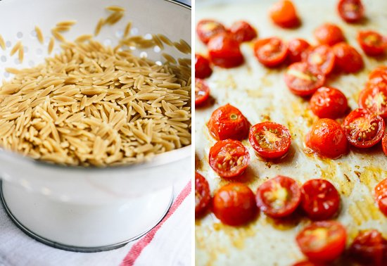cooked orzo and roasted tomatoes