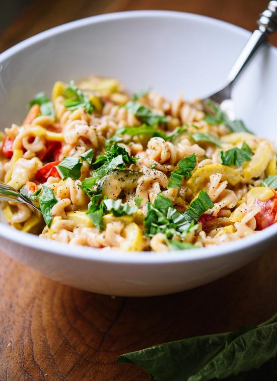 Creamy cherry tomato summer squash pastaCreamy cherry tomato summer squash pasta - cookieandkate.com