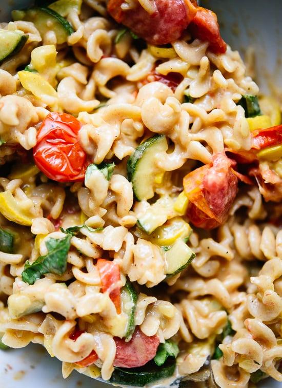 Creamy cherry tomato summer squash pasta - cookieandkate.com