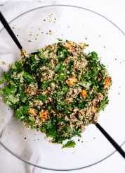 Quinoa Salad with Roasted Sweet Potato, Kale & Pesto Vinaigrette