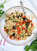 Roasted eggplant, tomato and feta pasta! An easy weeknight dinner. cookieandkate.com