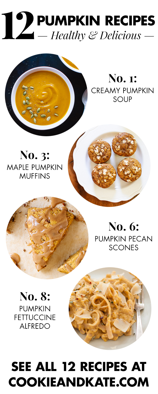 12 pumpkin recipes, from breakfast through dinner! cookieandkate.com