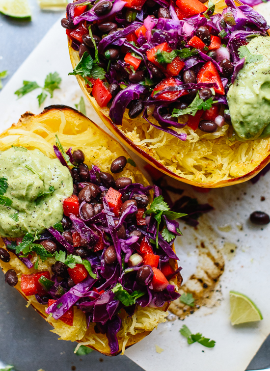 These beautiful spaghetti squash burrito bowls are super healthy and bursting with fresh flavors! cookieandkate.com