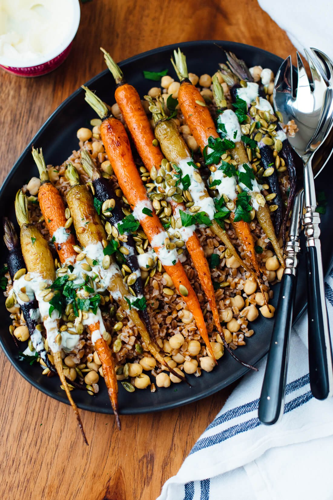 roasted carrots recipe with farro, chickpeas and parsley recipe