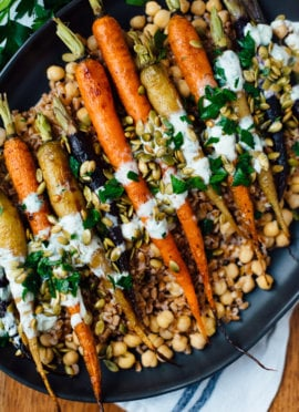 roasted carrots recipe with farro, chickpeas recipe