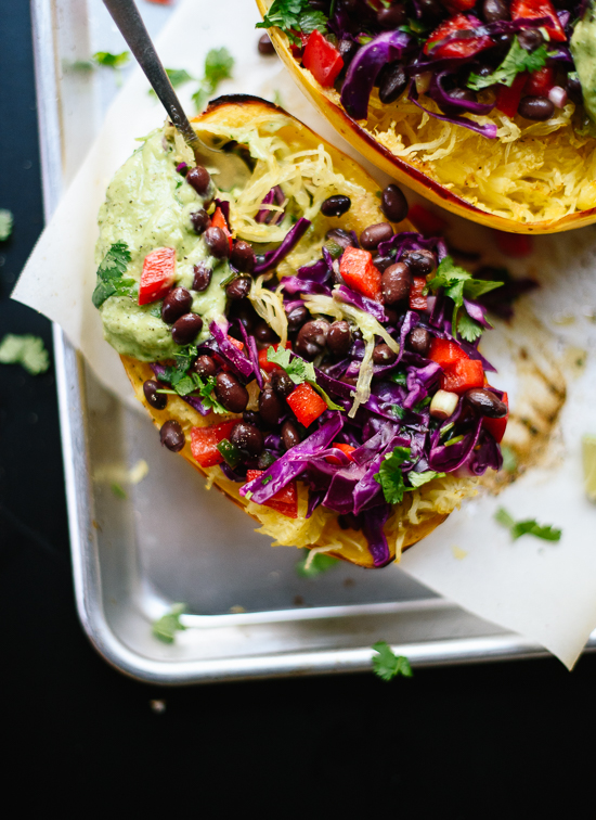These spaghetti squash burrito bowls taste amazing! They're vegan and gluten free, too. cookieandkate.com