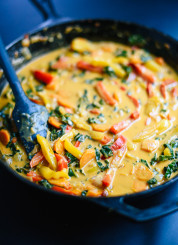 This Thai red curry with vegetables is healthy and so good! cookieandkate.com