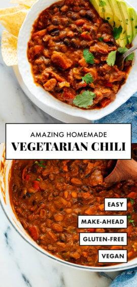 homemade vegetarian chili recipe pin