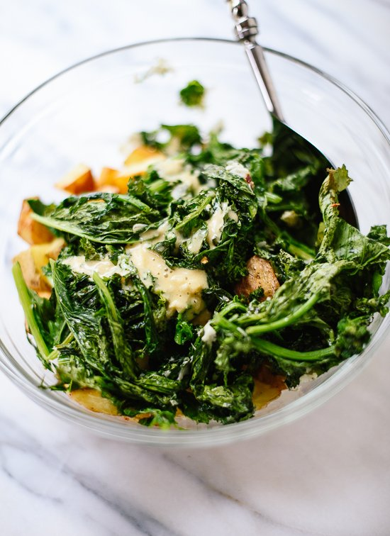 How to make roasted broccoli rabe potato salad - cookieandkate.com