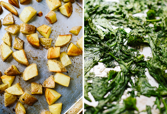 roasted broccoli rabe and potatoes