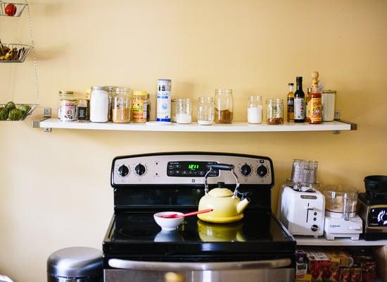 stove with Ikea Ekby Tony / Ekby Bjarnem shelf